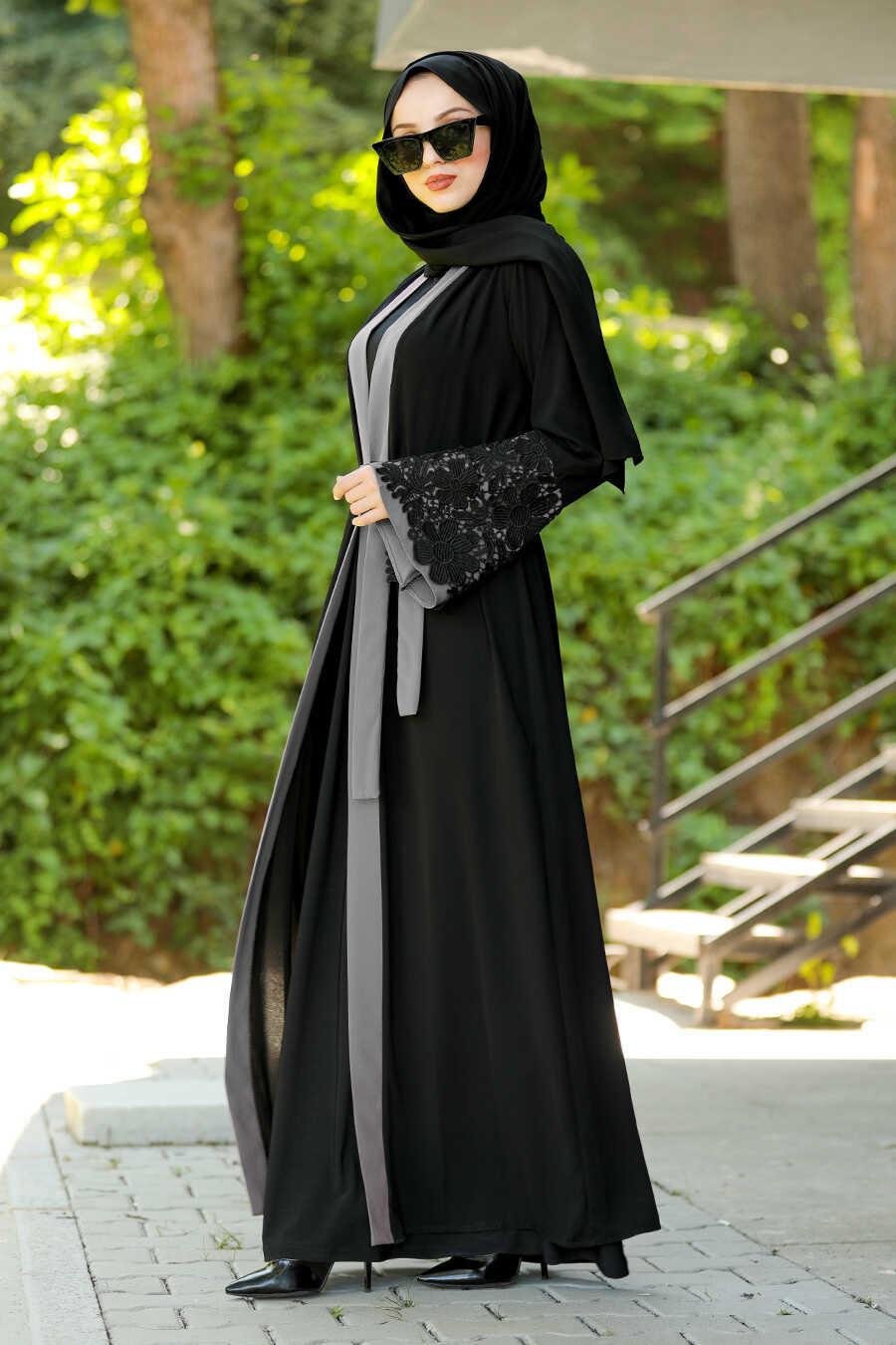 Grey Hijab Abaya 55084GR