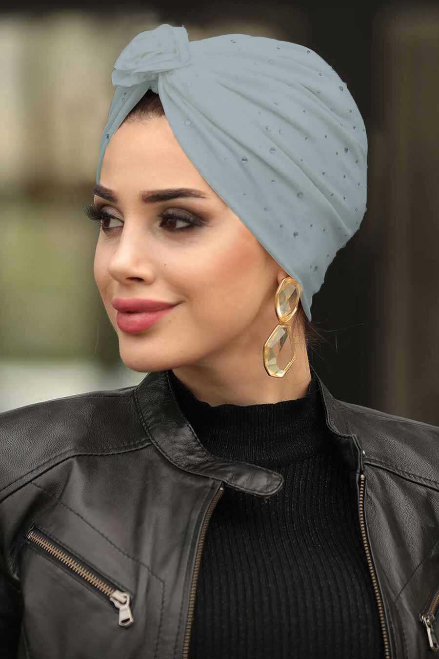 Grey Hijab Cap Shawl 7527GR