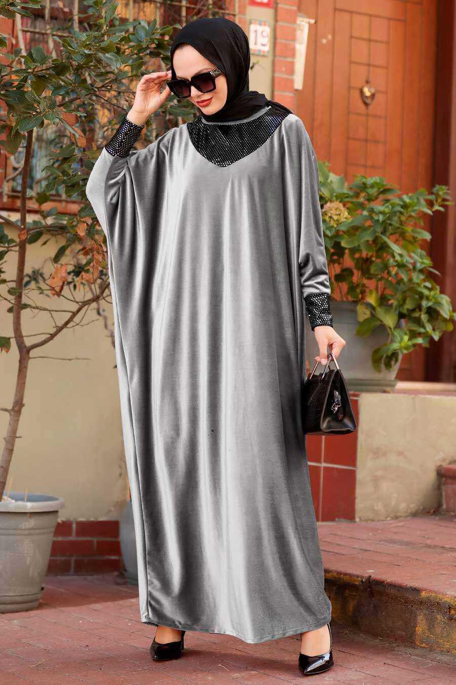 Grey Hijab Dress 10561GR