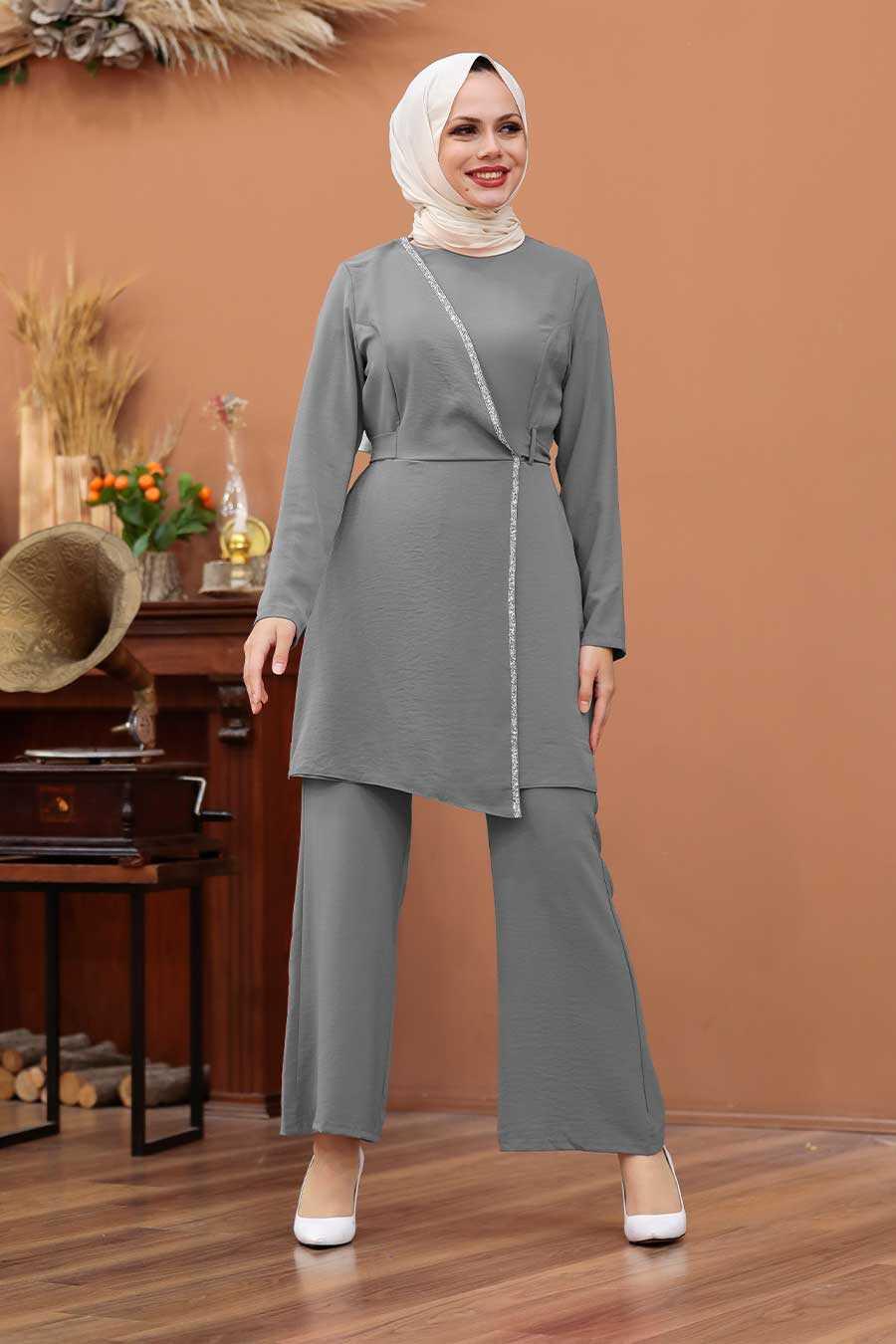 Grey Hijab Dual Suit Dress 3000GR