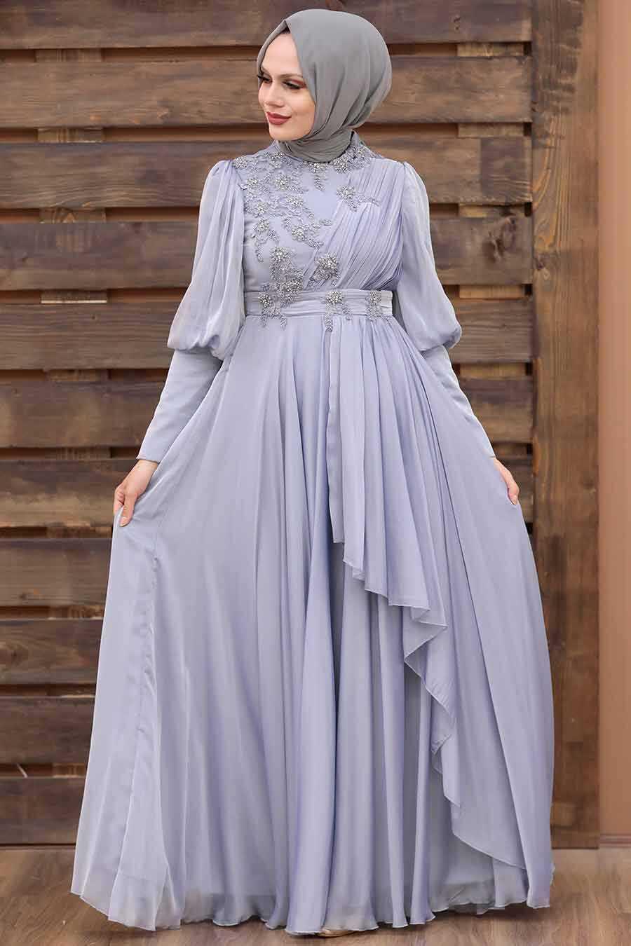 Grey Hijab Evening Dress 21930GR
