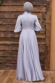 Grey Hijab Evening Dress 21930GR - Thumbnail
