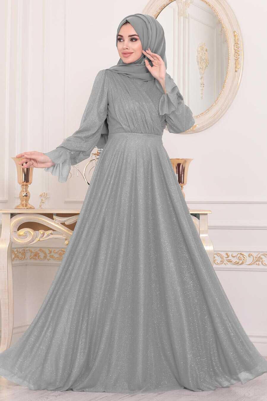 Grey Hijab Evening Dress 22202GR
