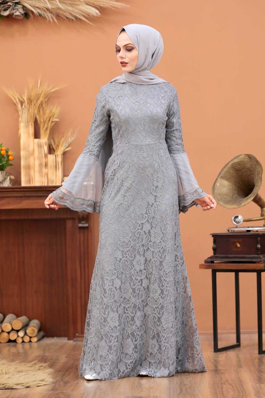 Grey Hijab Evening Dress 2567GR