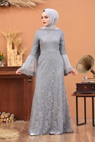 Grey Hijab Evening Dress 2567GR - Thumbnail