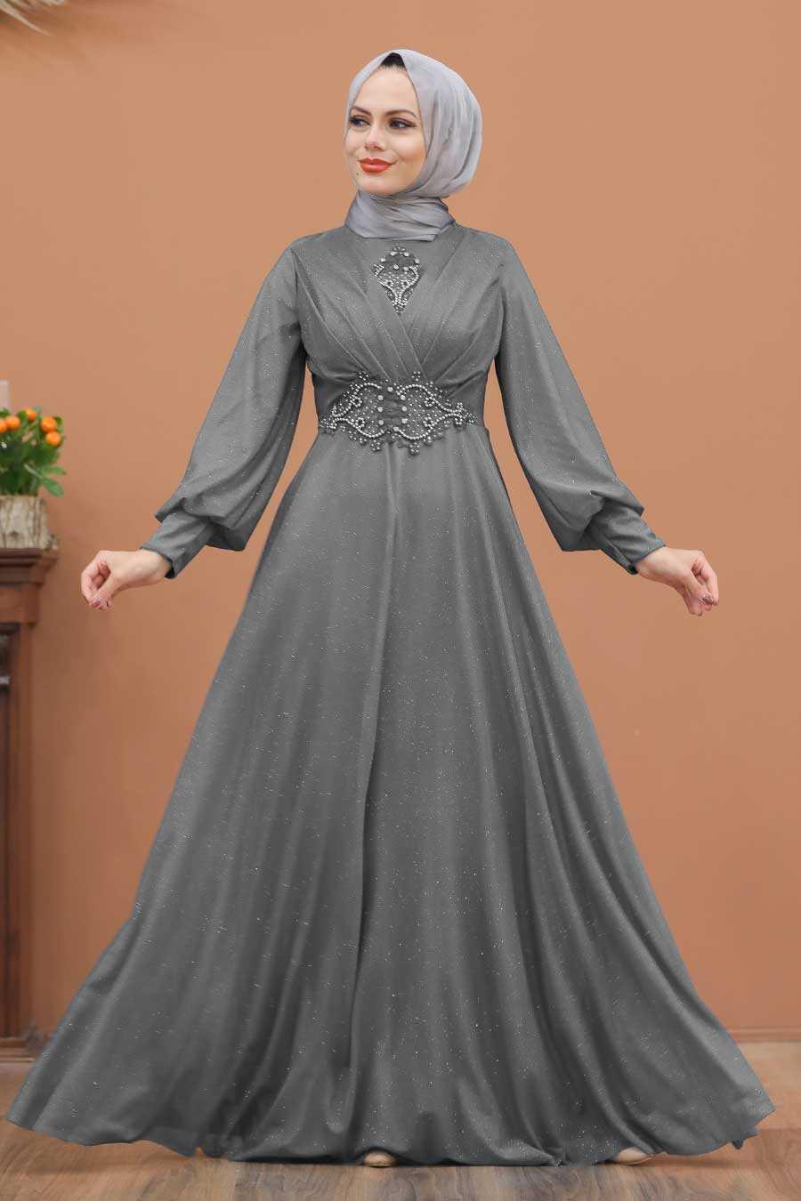 Grey Hijab Evening Dress 50151GR