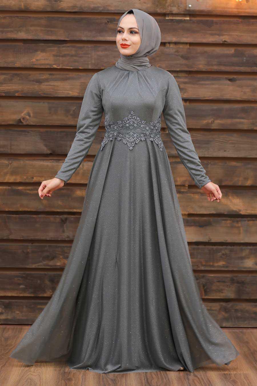 Grey Hijab Evening Dress 50162GR