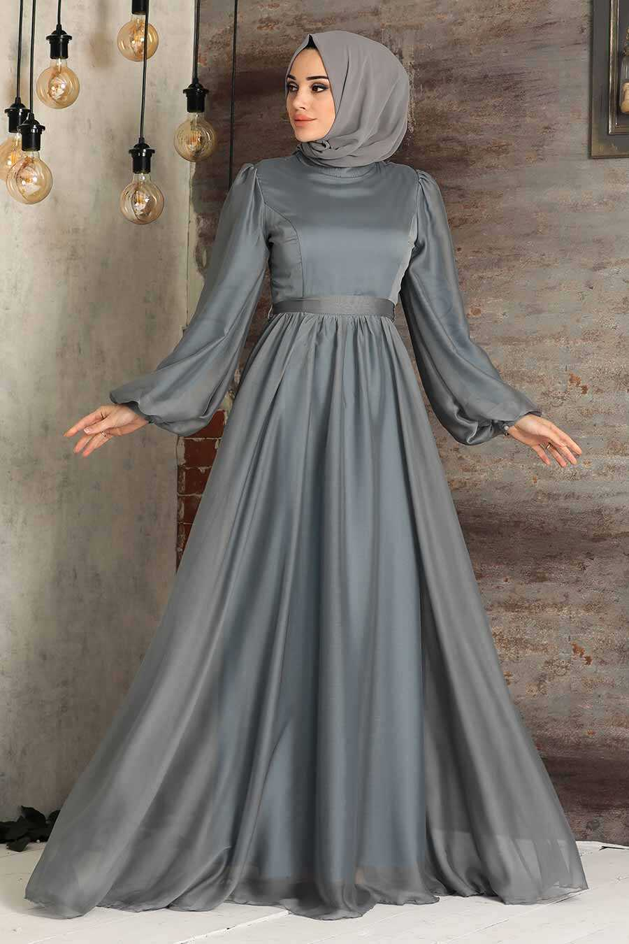 Grey Hijab Evening Dress 5215GR
