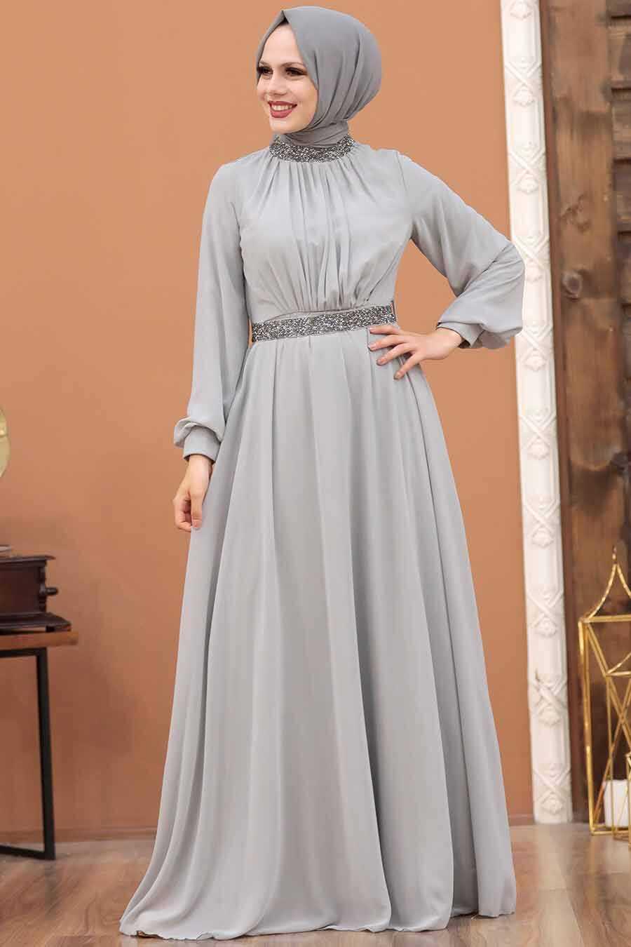 Grey Hijab Evening Dress 5339GR
