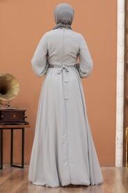 Grey Hijab Evening Dress 5339GR - Thumbnail