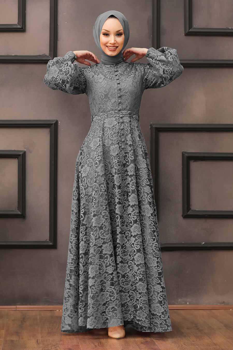 Grey Hijab Evening Dress 5477GR