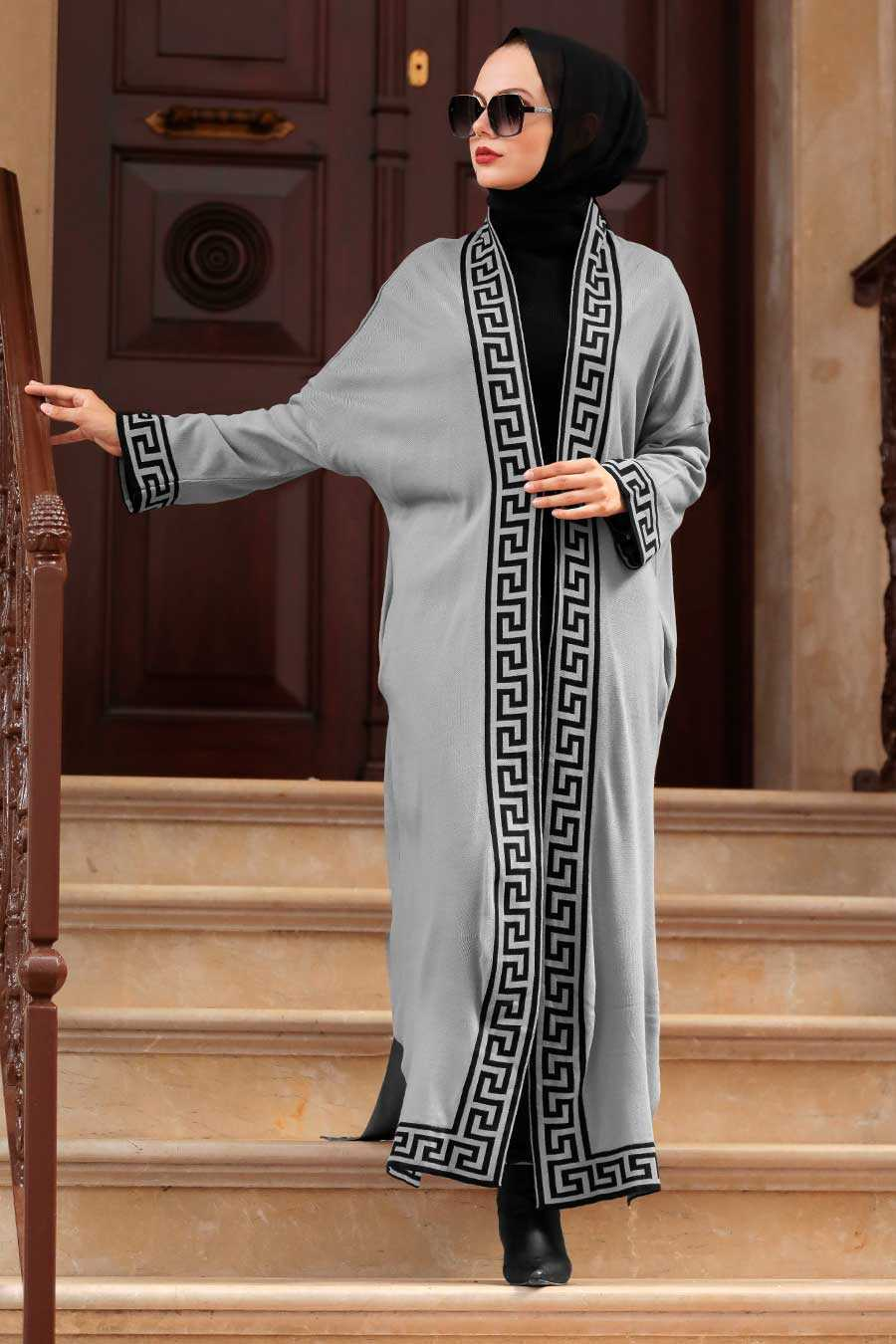 Grey Hijab Knitwear Cardigan 3049GR