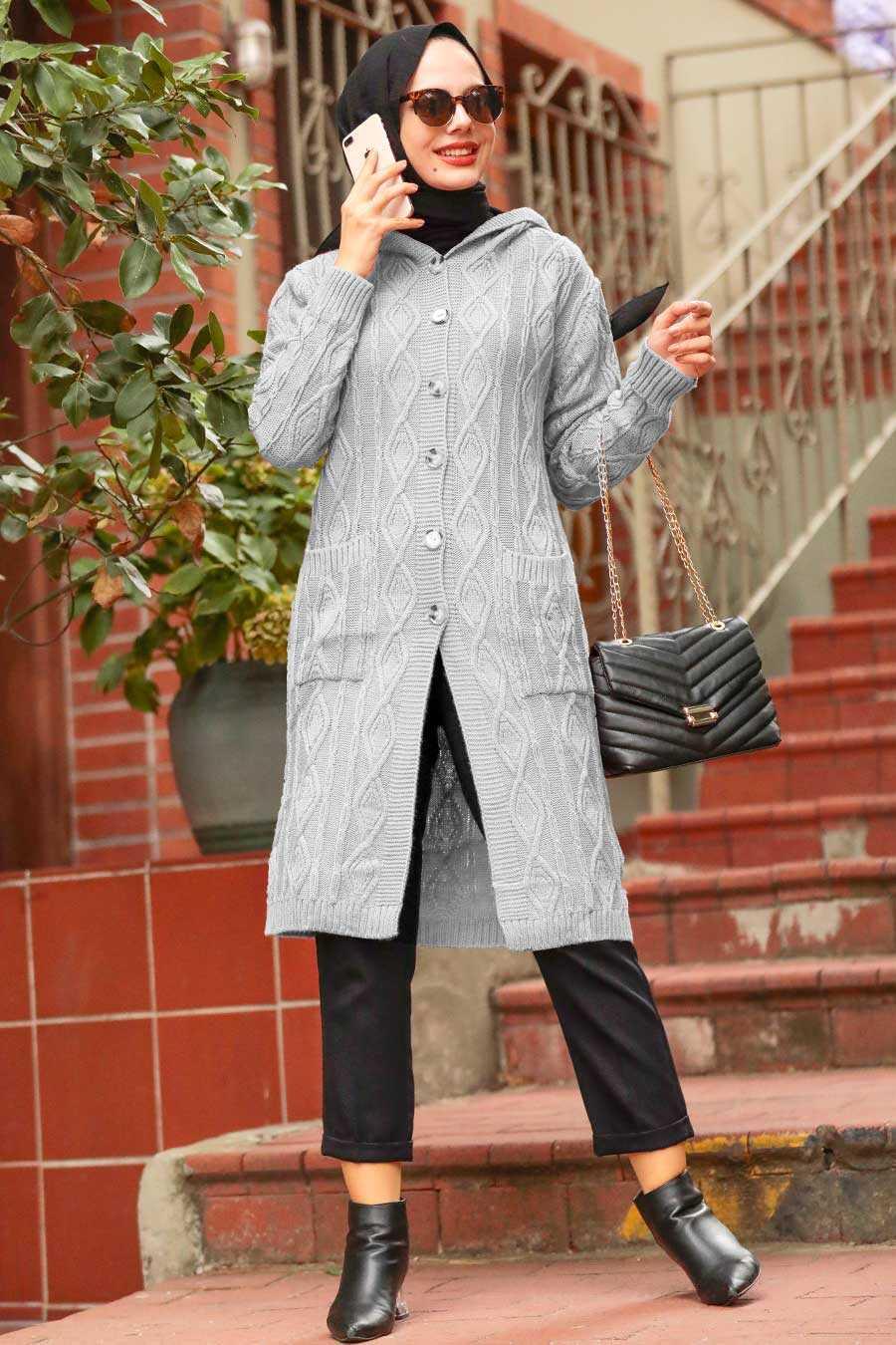 Grey Hijab Knitwear Cardigan 4011GR