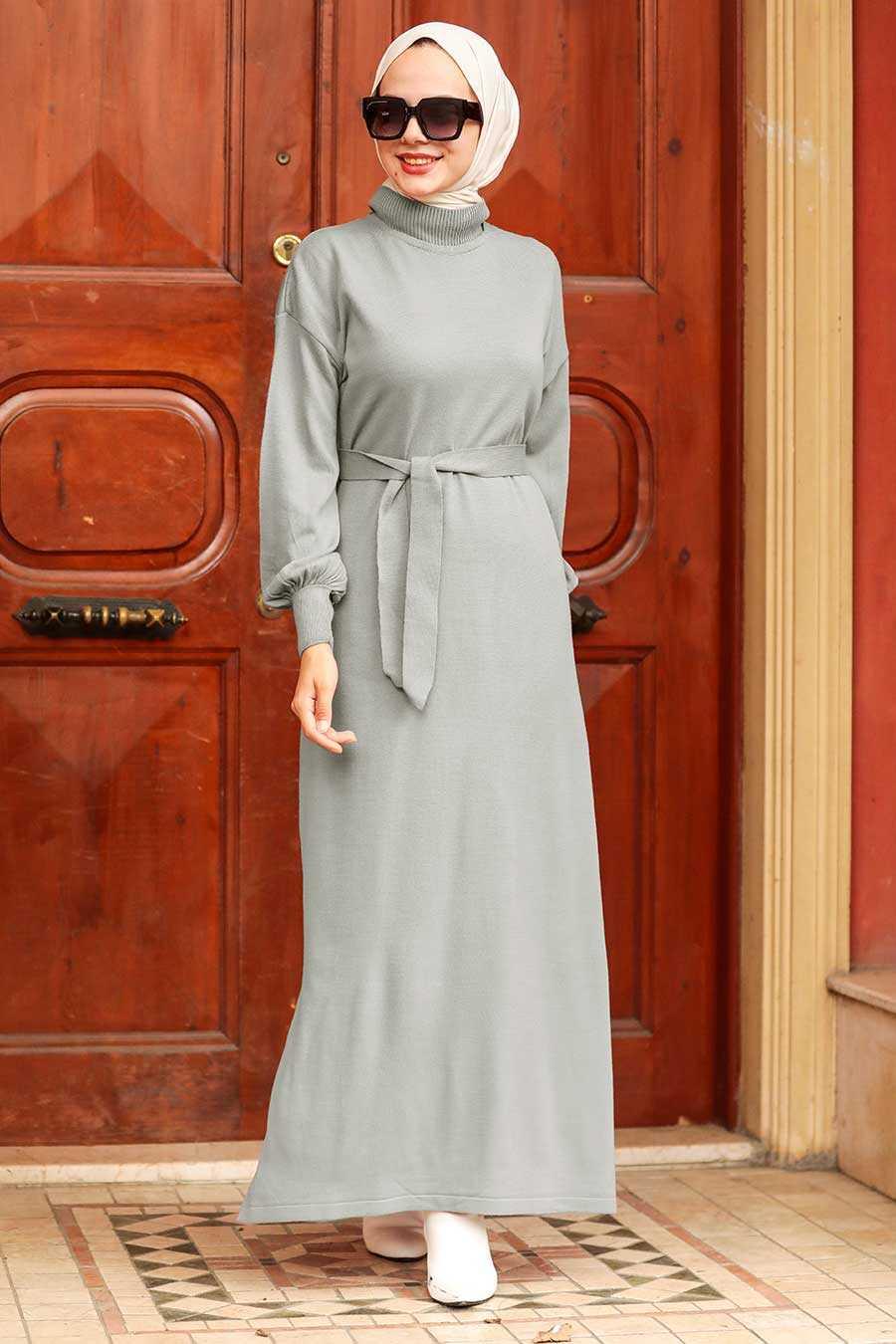Grey Hijab Knitwear Dress 3135GR
