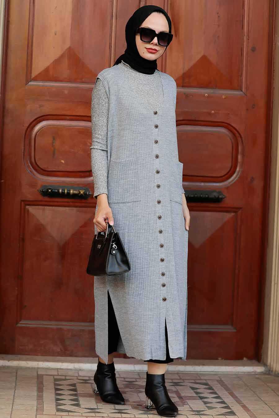 Grey Hijab Knitwear Vest 3324GR