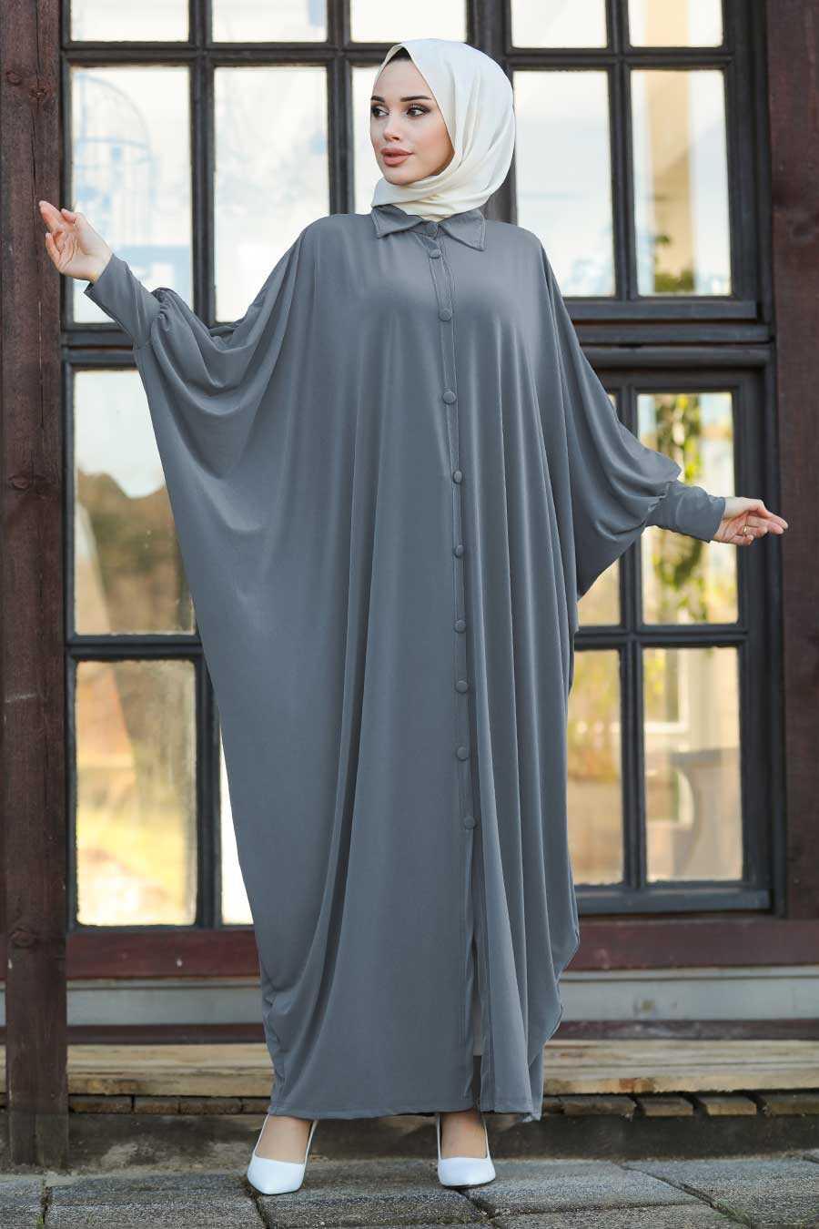 Grey Hijab Turkish Abaya 1723GR