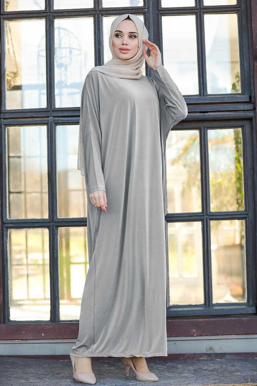 Grey Hijab Turkish Abaya 17801GR