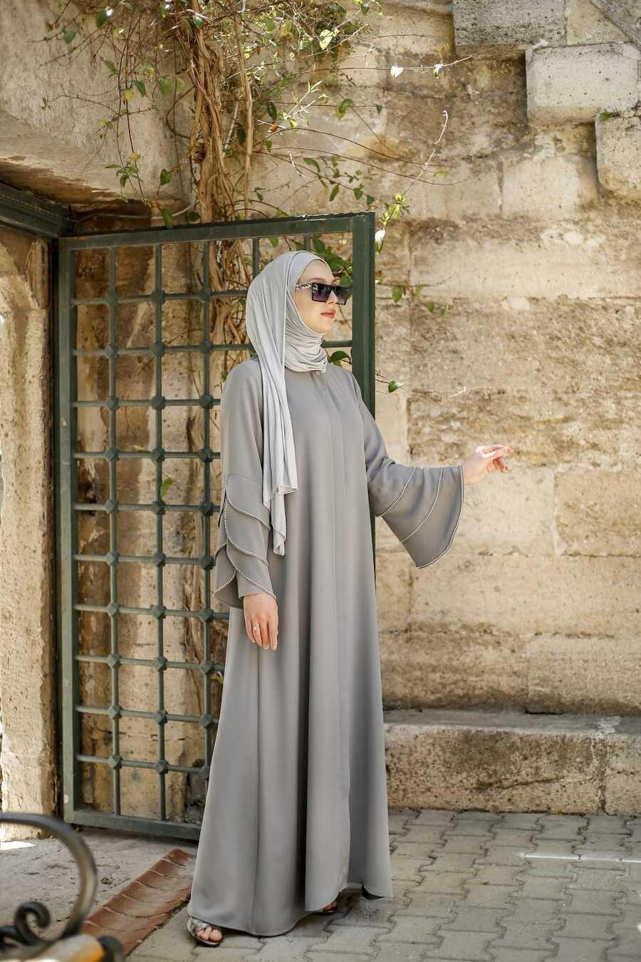 Grey Hijab Turkish Abaya 345900GR