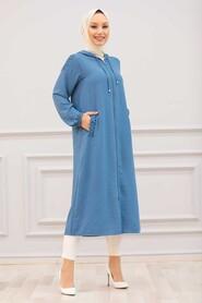 İndigo Blue Hijab Coat 15630IM - Thumbnail