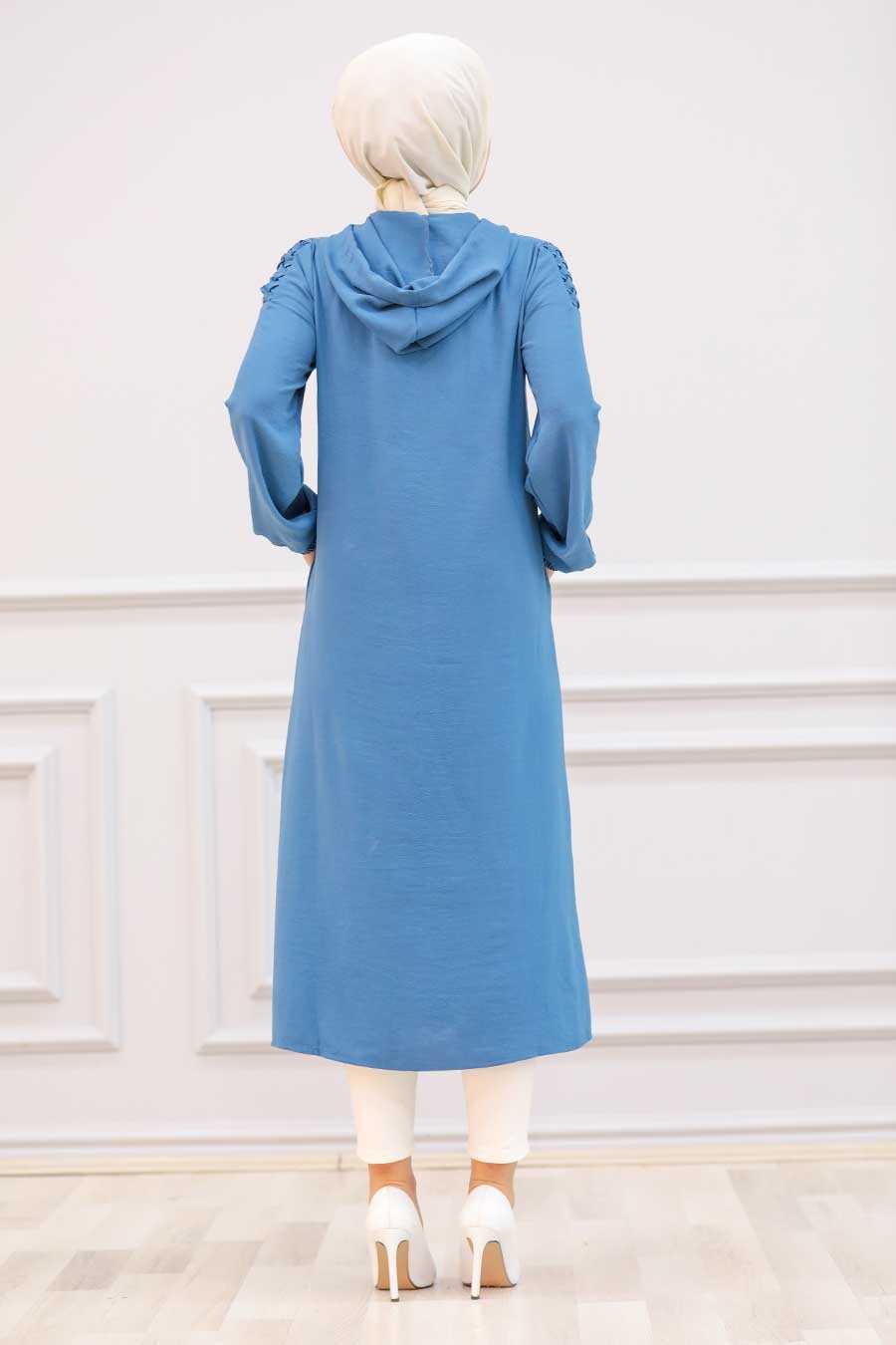İndigo Blue Hijab Coat 15630IM
