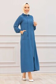 İndigo Blue Hijab Coat 3729IM - Thumbnail