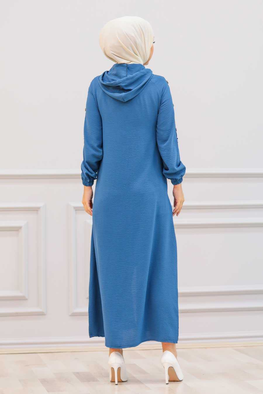 İndigo Blue Hijab Coat 3729IM
