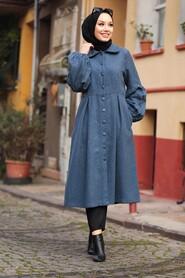 İndigo Blue Hijab Coat 5592IM - Thumbnail