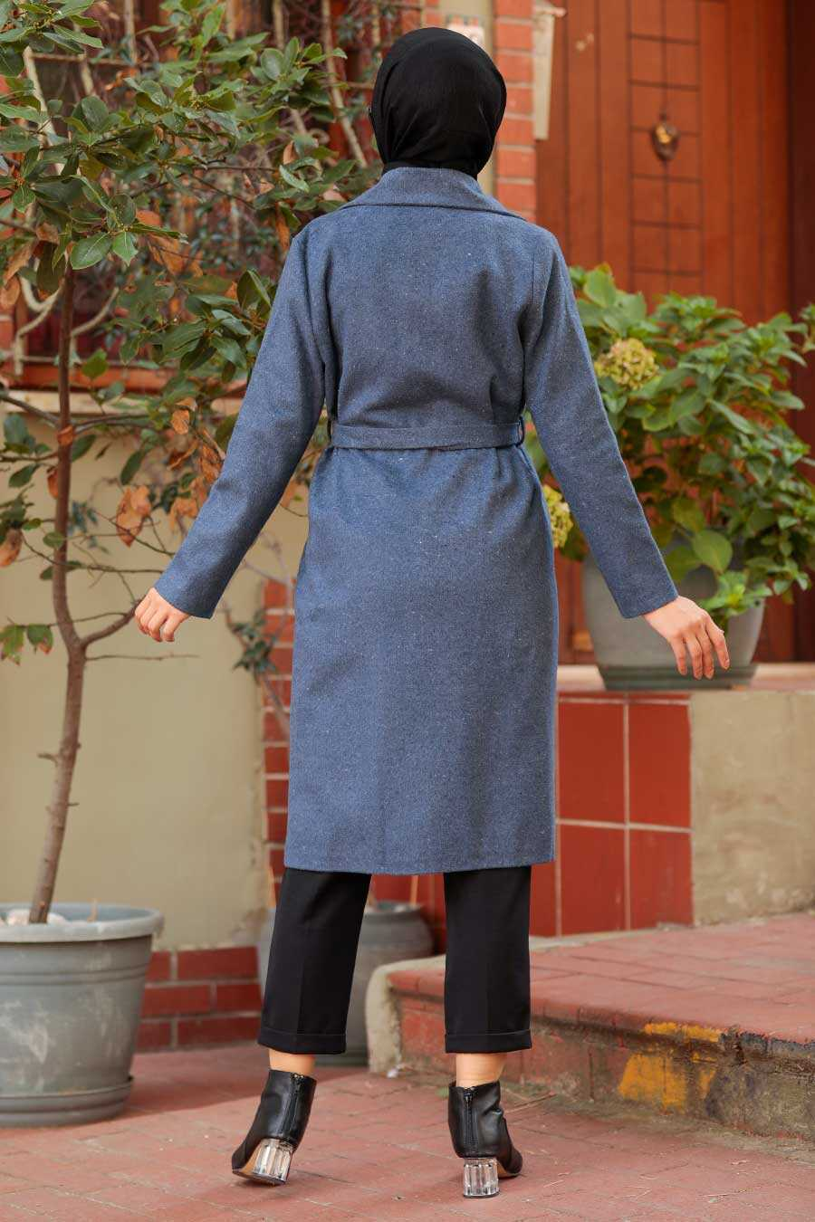 İndigo Blue Hijab Coat 7013IM