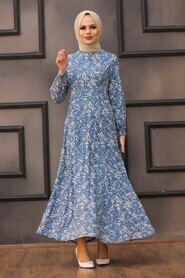 İndigo Blue Hijab Dress 27618IM - Thumbnail