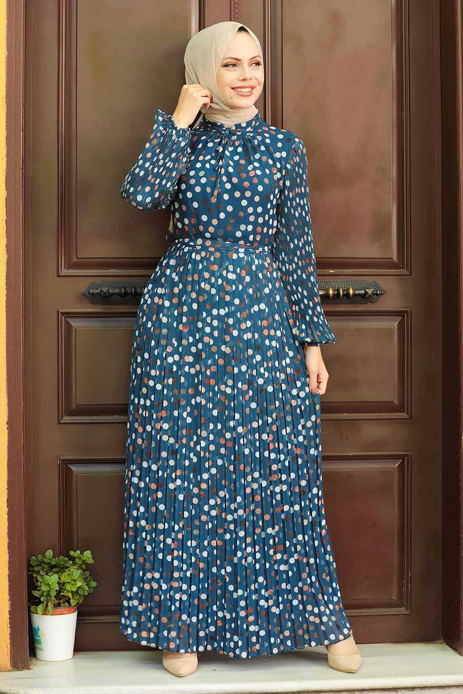 İndigo Blue Hijab Dress 27894IM