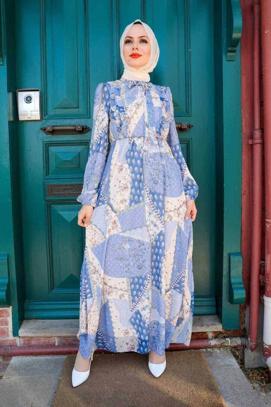 İndigo Blue Hijab Dress 2957IM