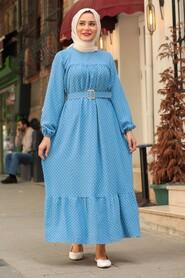 İndigo Blue Hijab Dress 3738IM - Thumbnail