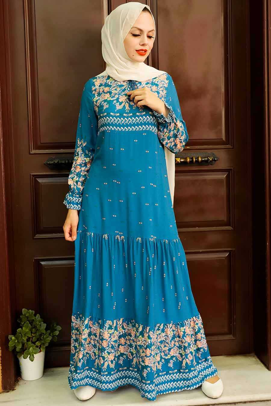 İndigo Blue Hijab Dress 5191IM