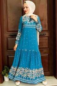 İndigo Blue Hijab Dress 5191IM - Thumbnail