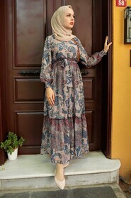 İndigo Blue Hijab Dress 76440IM - Thumbnail