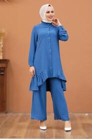 İndigo Blue Hijab Dual Suit Dress 2428IM - Thumbnail