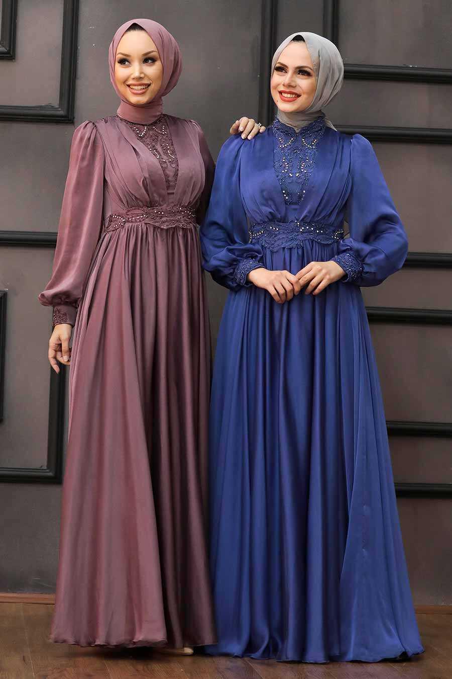 İndigo Blue Hijab Evening Dress 21540IM
