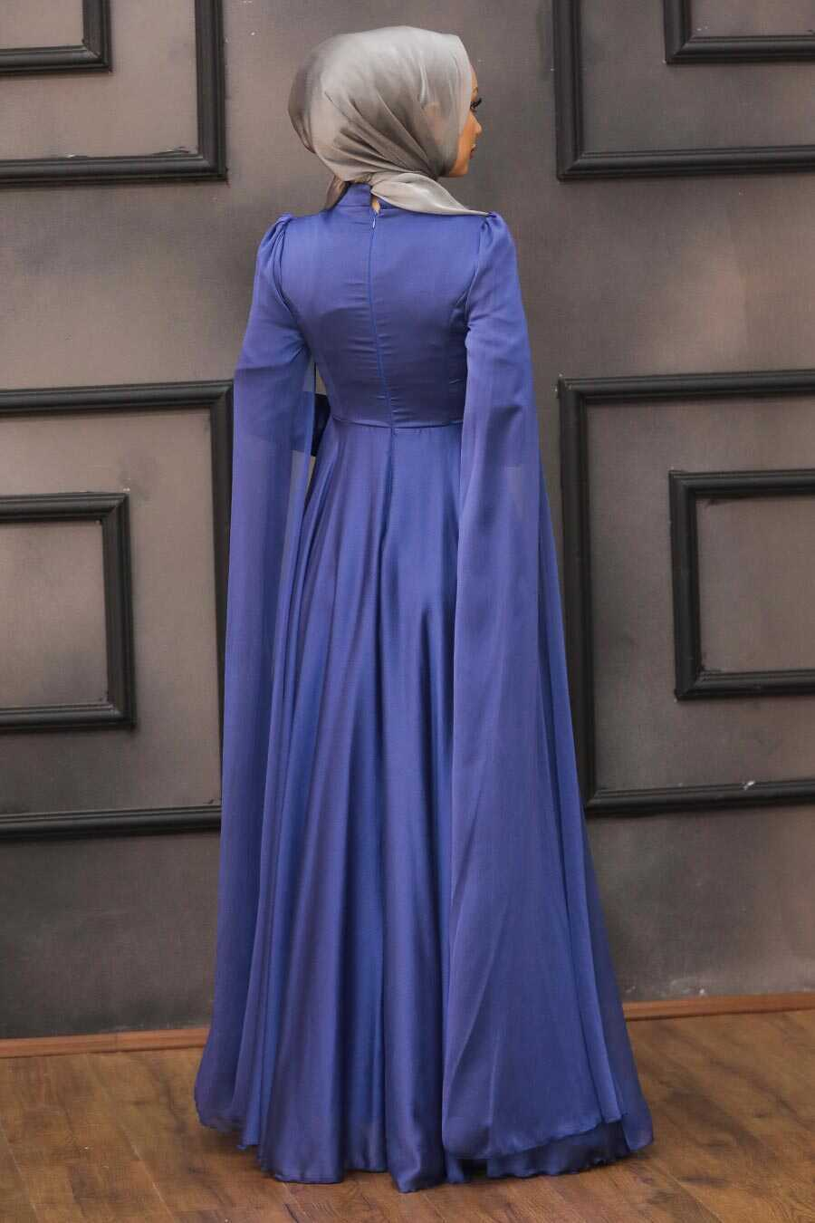 İndigo Blue Hijab Evening Dress 22140IM