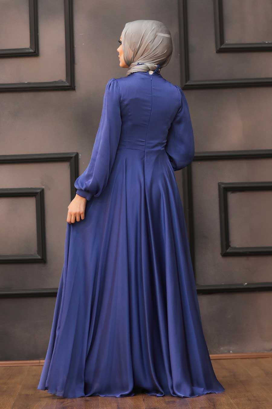 İndigo Blue Hijab Evening Dress 22150IM