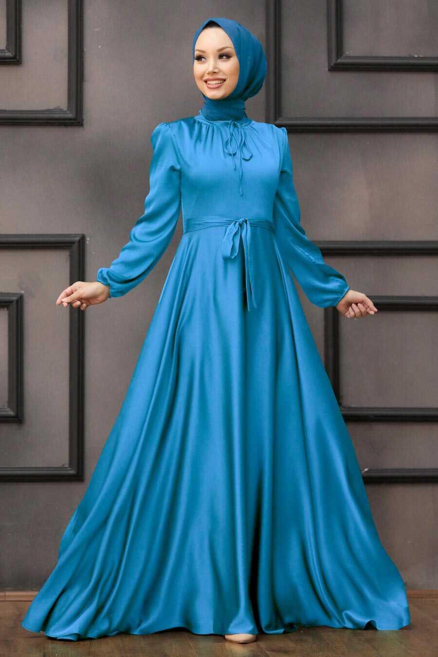 İndigo Blue Hijab Evening Dress 25130IM