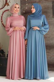 İndigo Blue Hijab Evening Dress 5215IM - Thumbnail