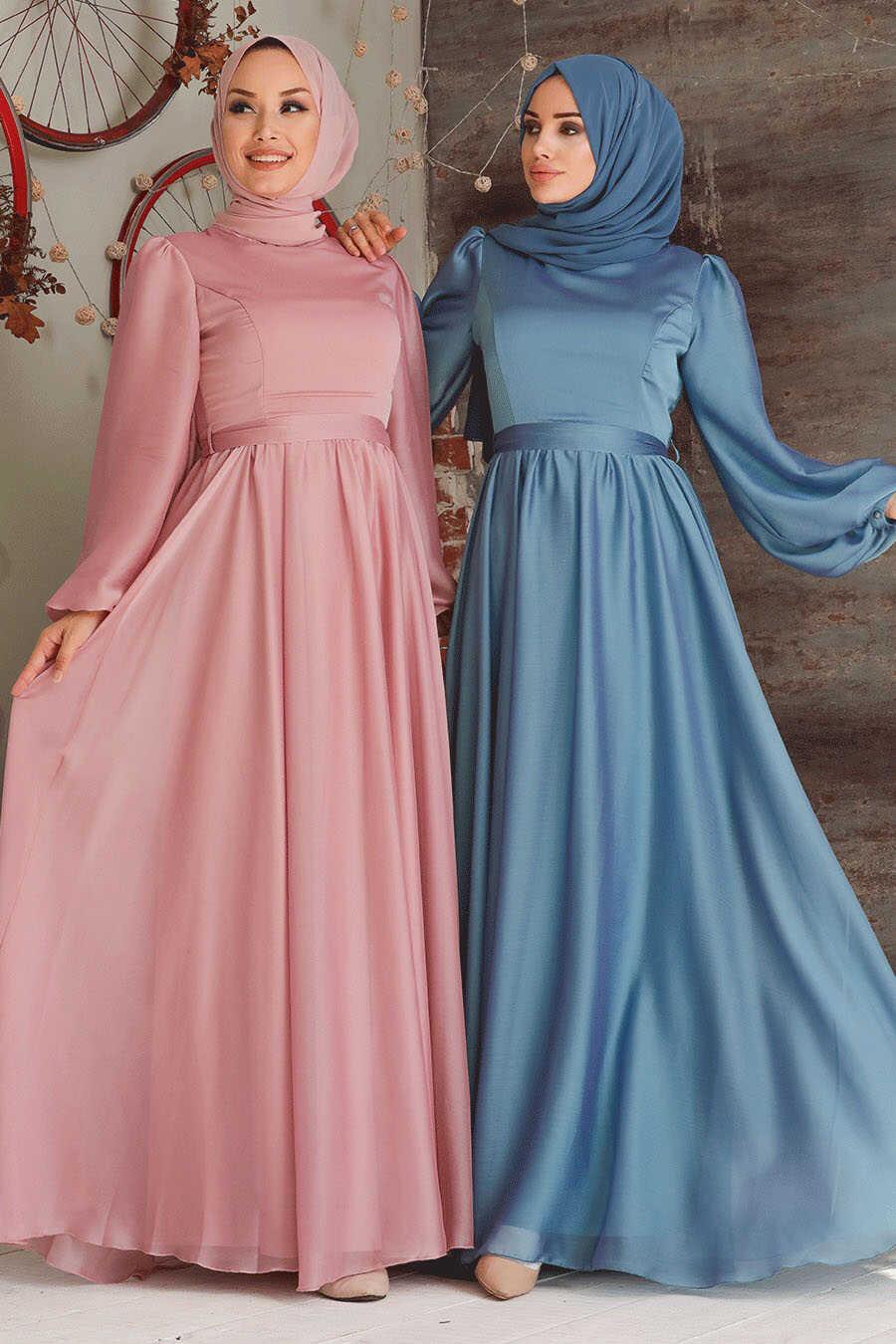 İndigo Blue Hijab Evening Dress 5215IM