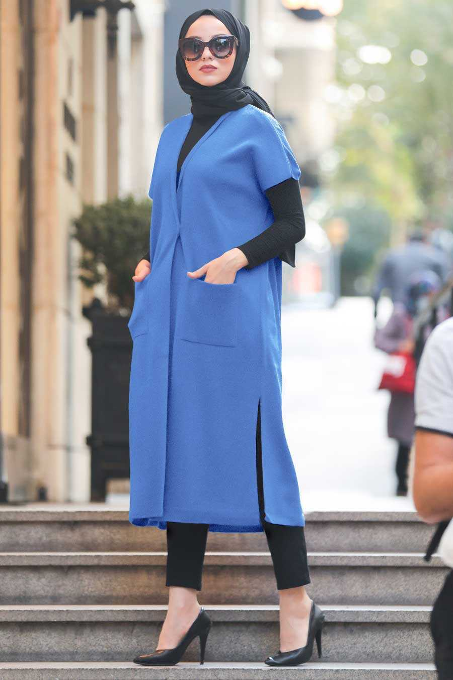 İndigo Blue Hijab Knitwear Vest 21920IM