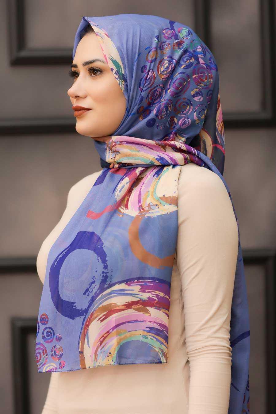 İndigo Blue Hijab Shawl 7564IM