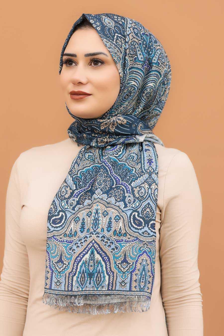 İndigo Blue Hijab Shawl 7570IM