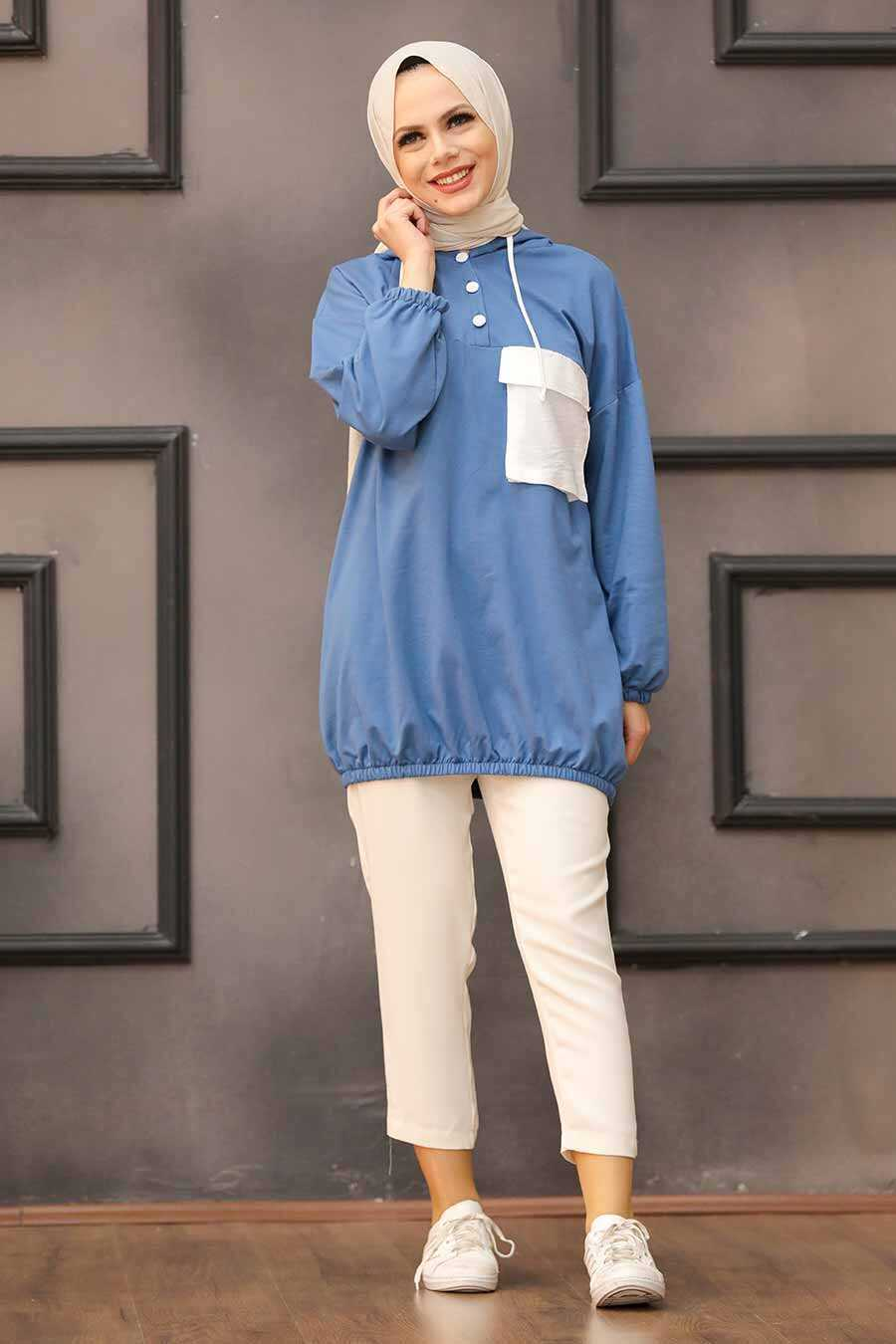 İndigo Blue Hijab Sweatshirt & Tunic 6328IM