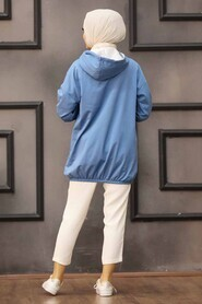 İndigo Blue Hijab Sweatshirt & Tunic 6328IM - Thumbnail