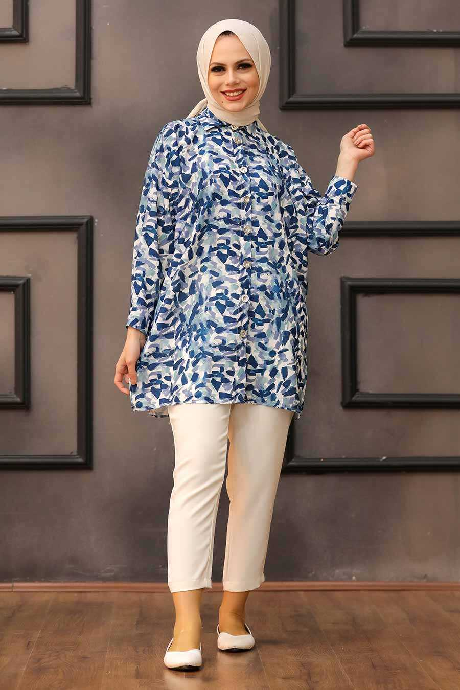 İndigo Blue Hijab Tunic 27325IM
