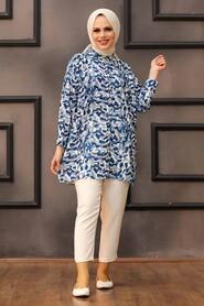 İndigo Blue Hijab Tunic 27325IM - Thumbnail