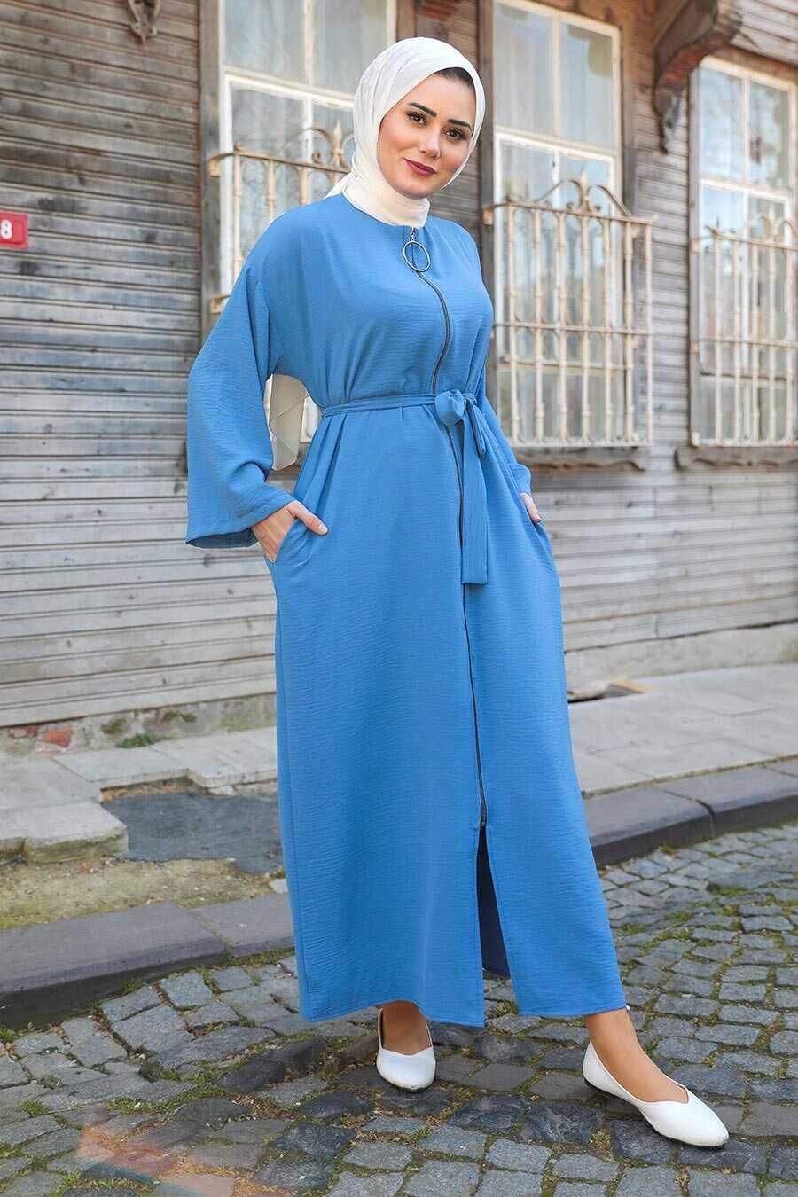 İndigo Blue Hijab Turkish Abaya 544IM